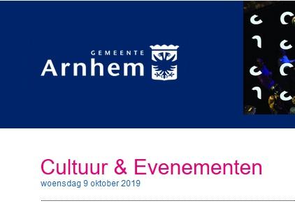 Nieuwsbrief Cultuur en Evenementen gemeente Arnhem oktober 2019 is verschenen!